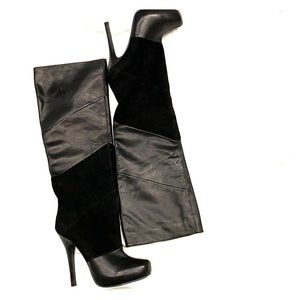 Black knee high genuine leather and suede boots